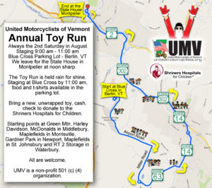 United Motorcyclists of Vermont Toy Run Route Map